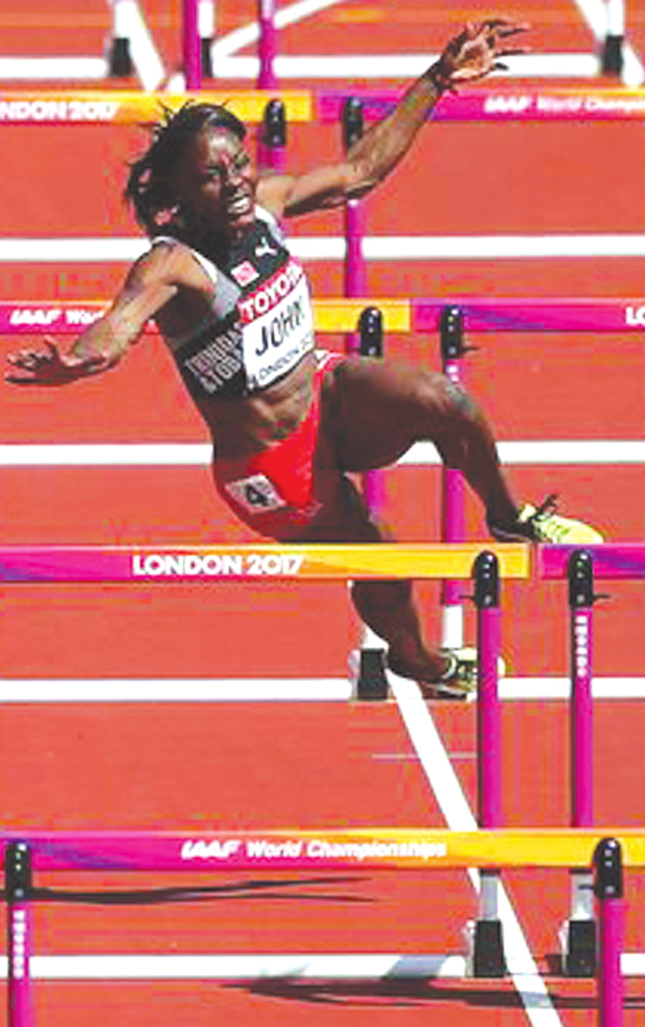 Deborah John competes during the 2017 World Championships in London for her home country of Trinidad and Tobago. Provided
