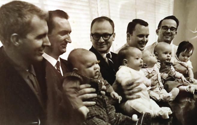 1967 was a very productive year for the SWOSU biology department when they welcomed five new babies. Among those from left are Hobart Landreth and son Phillip, Jack Harder and daughter Rhonda, Richard Craven and son, Gary Wolgamott and son Thad, Jim Lovell and daughter Diana. Dr. Diana Lovell was just named the new president of SWOSU this week. Provided