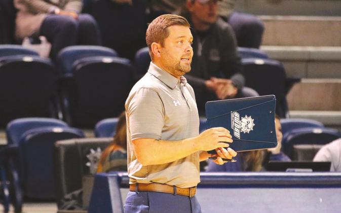 SWOSU head volleyball coach Josh Collins calls a play during a SWOSU volleyball game.Provided